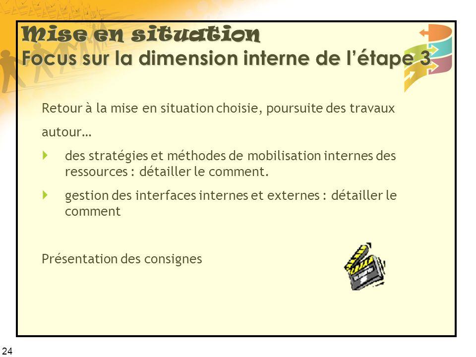 24 Mise en situation Focus sur la dimension interne de l'étape 3 Retour à la mise en situation choisie, poursuite des travaux autour…  des stratégies et méthodes de mobilisation internes des ressources : détailler le comment.