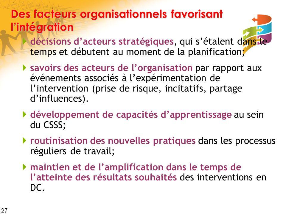 27 Des facteurs organisationnels favorisant l'intégration  décisions d'acteurs stratégiques, qui s'étalent dans le temps et débutent au moment de la planification;  savoirs des acteurs de l'organisation par rapport aux événements associés à l'expérimentation de l'intervention (prise de risque, incitatifs, partage d'influences).