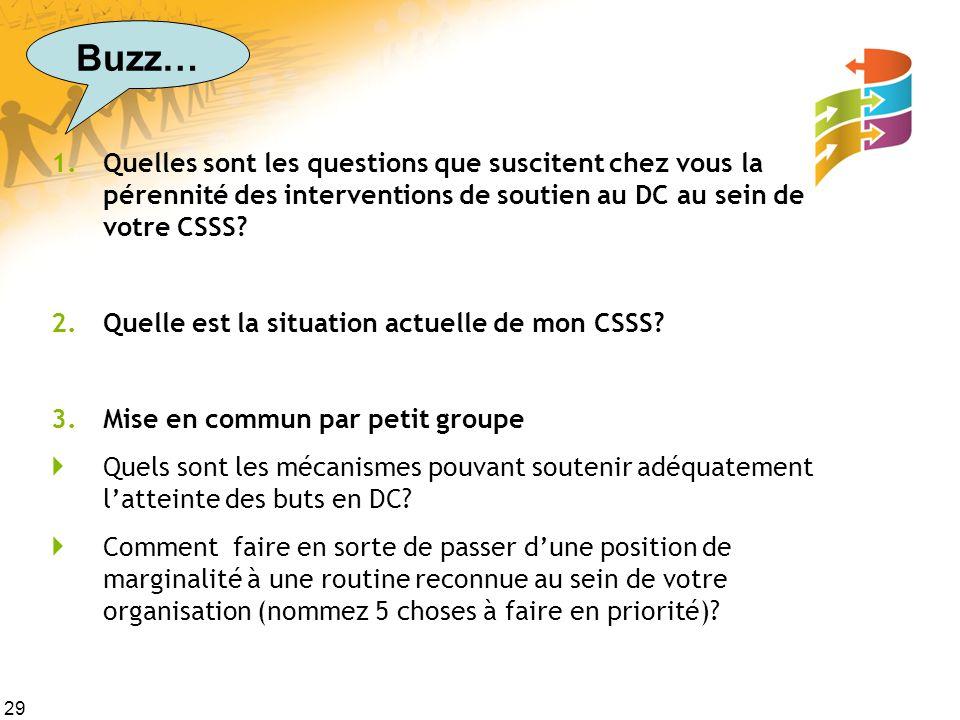 29 1.Quelles sont les questions que suscitent chez vous la pérennité des interventions de soutien au DC au sein de votre CSSS.