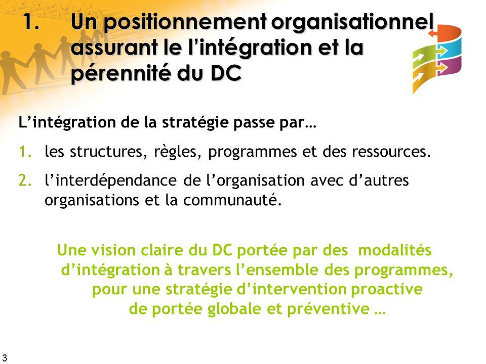 3 1.Un positionnement organisationnel assurant le l'intégration et la pérennité du DC L'intégration de la stratégie passe par… 1.les structures, règles, programmes et des ressources.