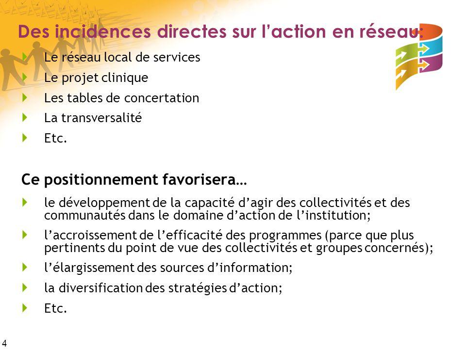 4 Des incidences directes sur l'action en réseau:  Le réseau local de services  Le projet clinique  Les tables de concertation  La transversalité  Etc.