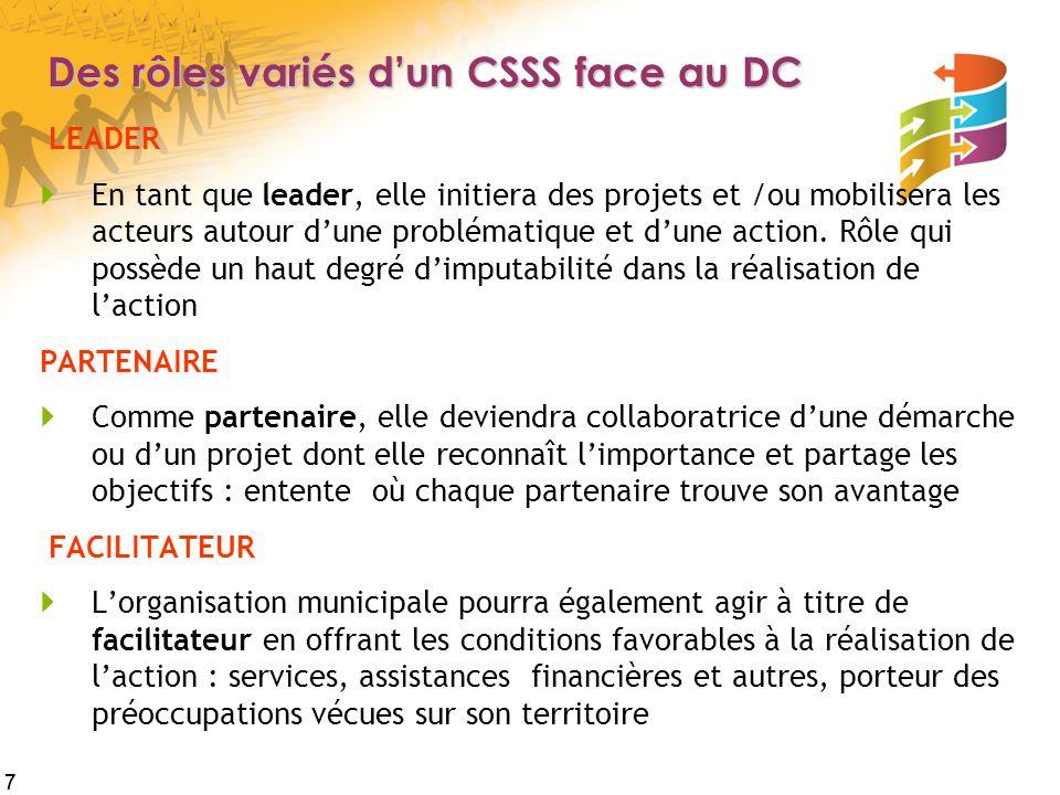 7 Des rôles variés d'un CSSS face au DC LEADER  En tant que leader, elle initiera des projets et /ou mobilisera les acteurs autour d'une problématique et d'une action.