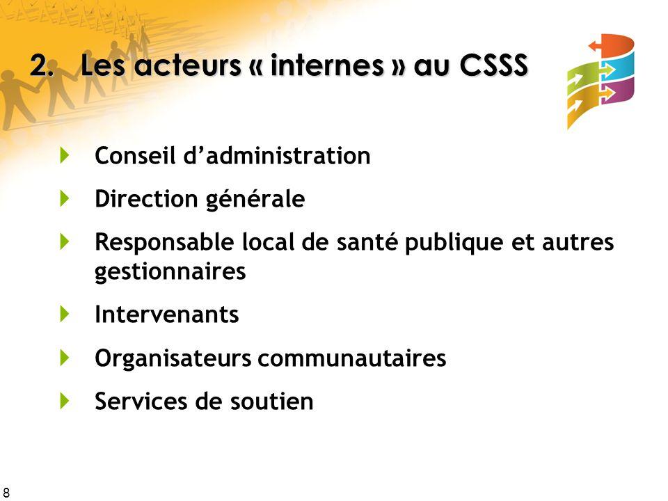 8 2. Les acteurs « internes » au CSSS  Conseil d'administration  Direction générale  Responsable local de santé publique et autres gestionnaires 