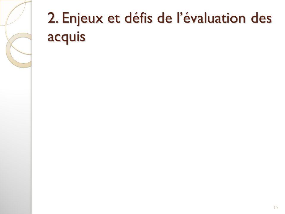 2. Enjeux et défis de l'évaluation des acquis 15