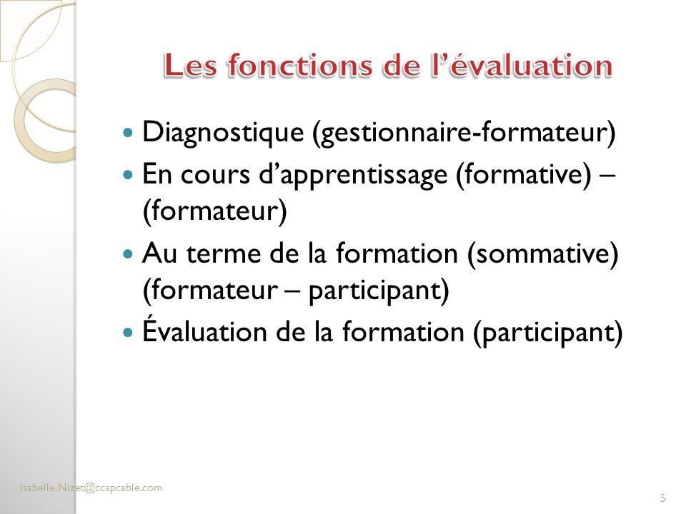 Diagnostique (gestionnaire-formateur) En cours d'apprentissage (formative) – (formateur) Au terme de la formation (sommative) (formateur – participant