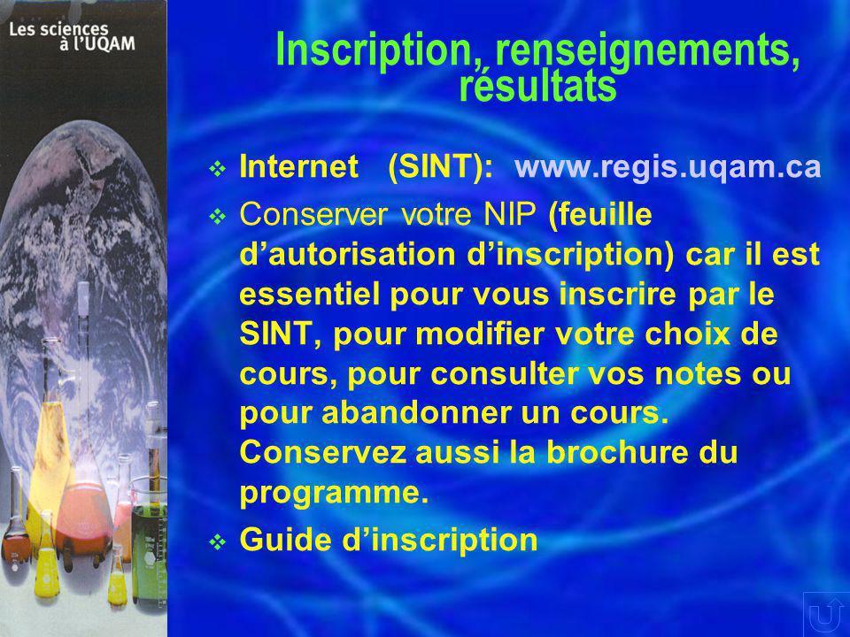  Internet (SINT): www.regis.uqam.ca  Conserver votre NIP (feuille d'autorisation d'inscription) car il est essentiel pour vous inscrire par le SINT, pour modifier votre choix de cours, pour consulter vos notes ou pour abandonner un cours.