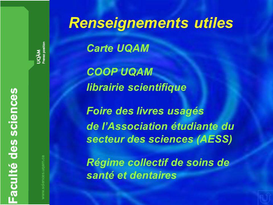 Renseignements utiles Carte UQAM COOP UQAM librairie scientifique Foire des livres usagés de l'Association étudiante du secteur des sciences (AESS) Régime collectif de soins de santé et dentaires