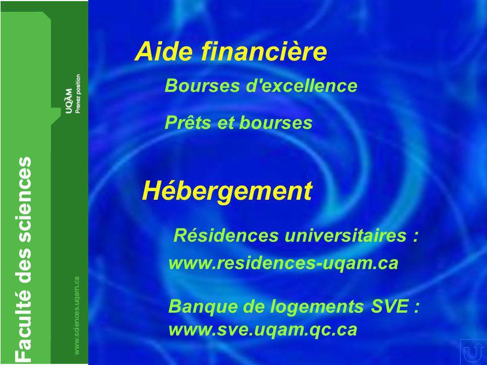 Aide financière Bourses d'excellence Prêts et bourses Hébergement Résidences universitaires : www.residences-uqam.ca Banque de logements SVE : www.sve