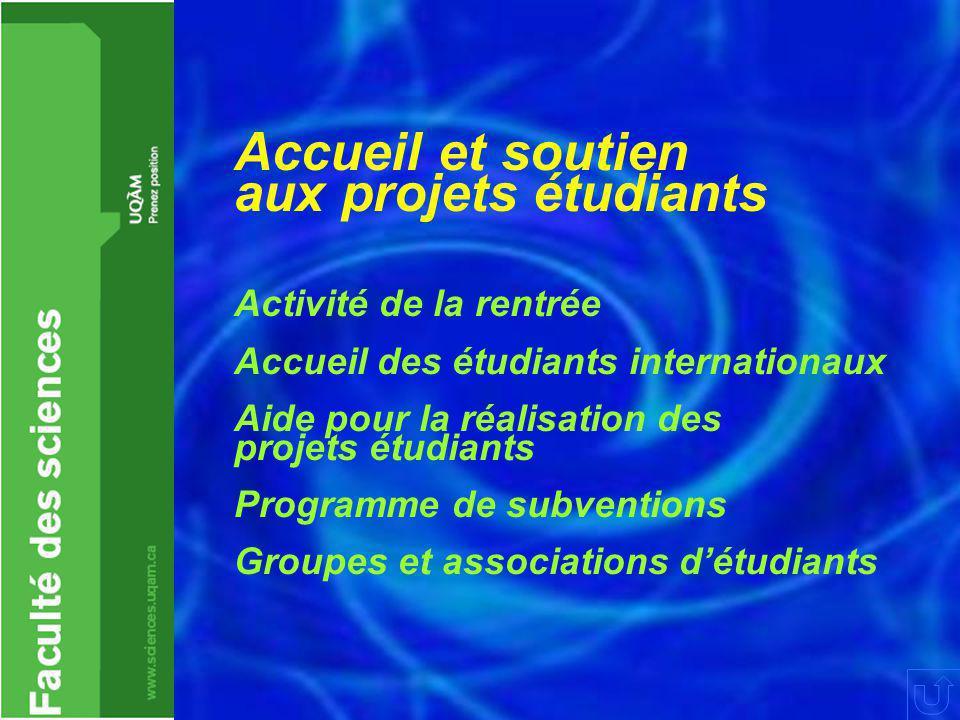 Accueil et soutien aux projets étudiants Activité de la rentrée Accueil des étudiants internationaux Aide pour la réalisation des projets étudiants Programme de subventions Groupes et associations d'étudiants