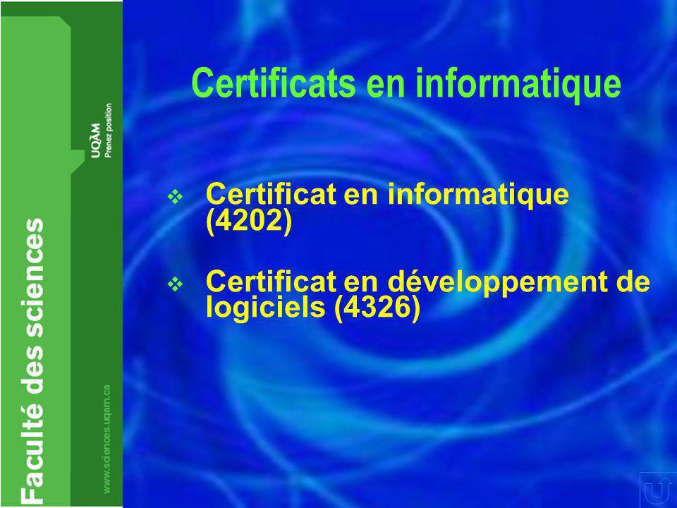 Règlements  Annulations – AX  Abandons XX – 2 max  Moyenne cumulative  > 2,0/4,3  Reconnaissances d'acquis  Intégrité académique  UQAM : http://www.instances.uqam.ca/reglem ents/reglement_5.html  Faculté des sciences: http://www.sciences.uqam.ca/regelemen ts.htm