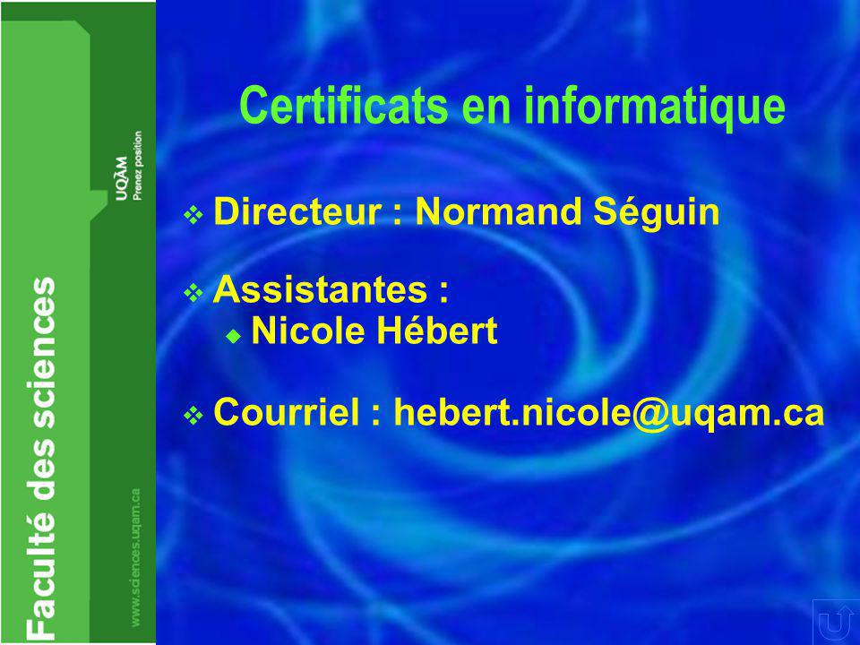 Certificats en informatique  Directeur : Normand Séguin  Assistantes :  Nicole Hébert  Courriel : hebert.nicole@uqam.ca