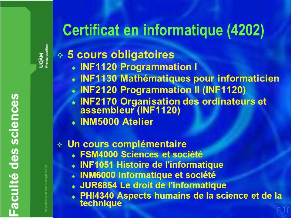 Certificat en informatique (4202)  5 cours obligatoires  INF1120 Programmation I  INF1130 Mathématiques pour informaticien  INF2120 Programmation II (INF1120)  INF2170 Organisation des ordinateurs et assembleur (INF1120)  INM5000 Atelier  Un cours complémentaire  FSM4000 Sciences et société  INF1051 Histoire de l informatique  INM6000 Informatique et société  JUR6854 Le droit de l informatique  PHI4340 Aspects humains de la science et de la technique