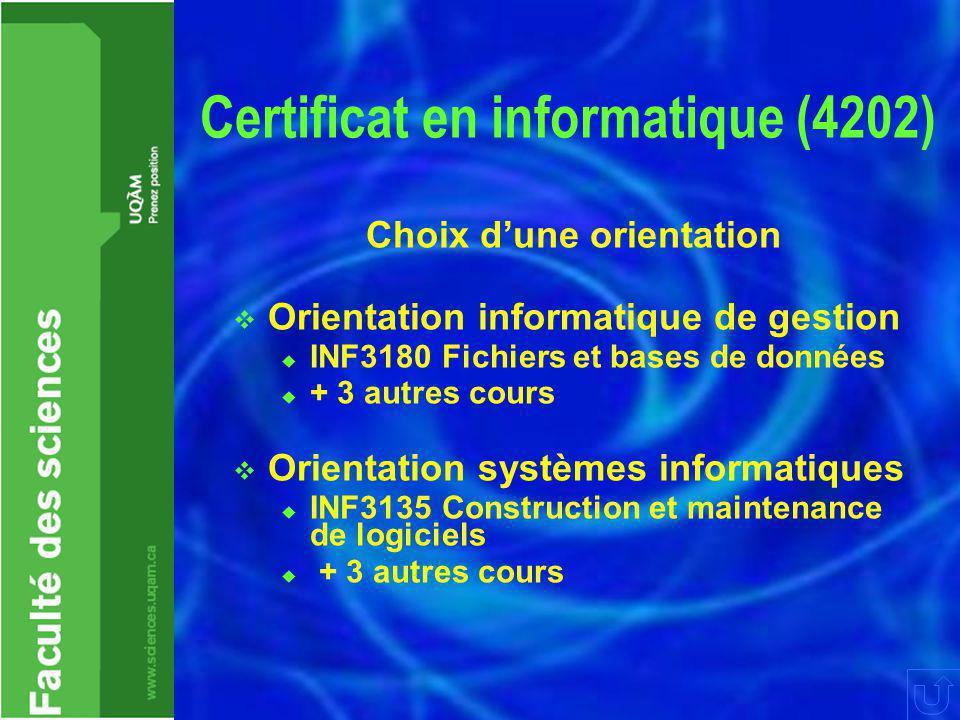 Certificat en informatique (4202) Choix d'une orientation  Orientation informatique de gestion  INF3180 Fichiers et bases de données  + 3 autres co