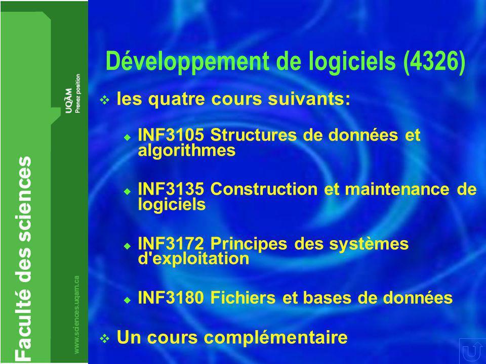 Développement de logiciels (4326)  les quatre cours suivants:  INF3105 Structures de données et algorithmes  INF3135 Construction et maintenance de logiciels  INF3172 Principes des systèmes d exploitation  INF3180 Fichiers et bases de données  Un cours complémentaire