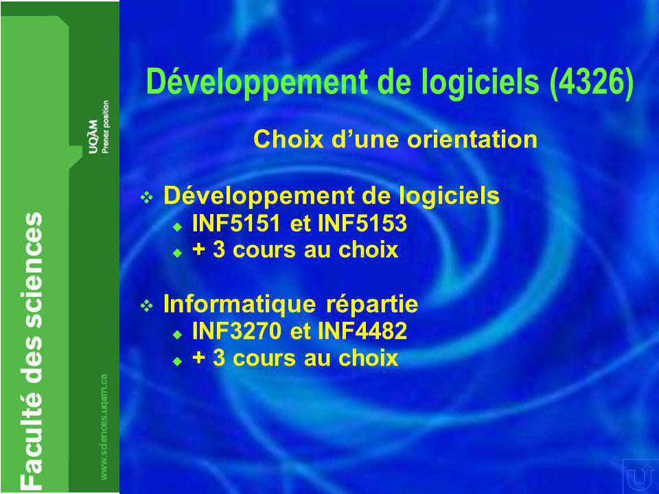 Développement de logiciels (4326) Choix d'une orientation  Développement de logiciels  INF5151 et INF5153  + 3 cours au choix  Informatique répartie  INF3270 et INF4482  + 3 cours au choix