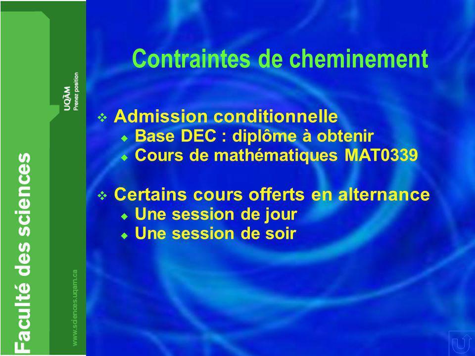 Contraintes de cheminement  Admission conditionnelle  Base DEC : diplôme à obtenir  Cours de mathématiques MAT0339  Certains cours offerts en alte