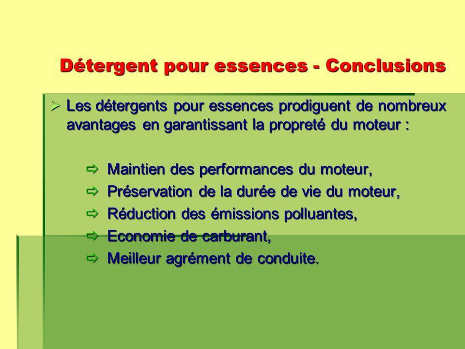 Détergent pour essences - Conclusions  Les détergents pour essences prodiguent de nombreux avantages en garantissant la propreté du moteur :  Maintien des performances du moteur,  Préservation de la durée de vie du moteur,  Réduction des émissions polluantes,  Economie de carburant,  Meilleur agrément de conduite.