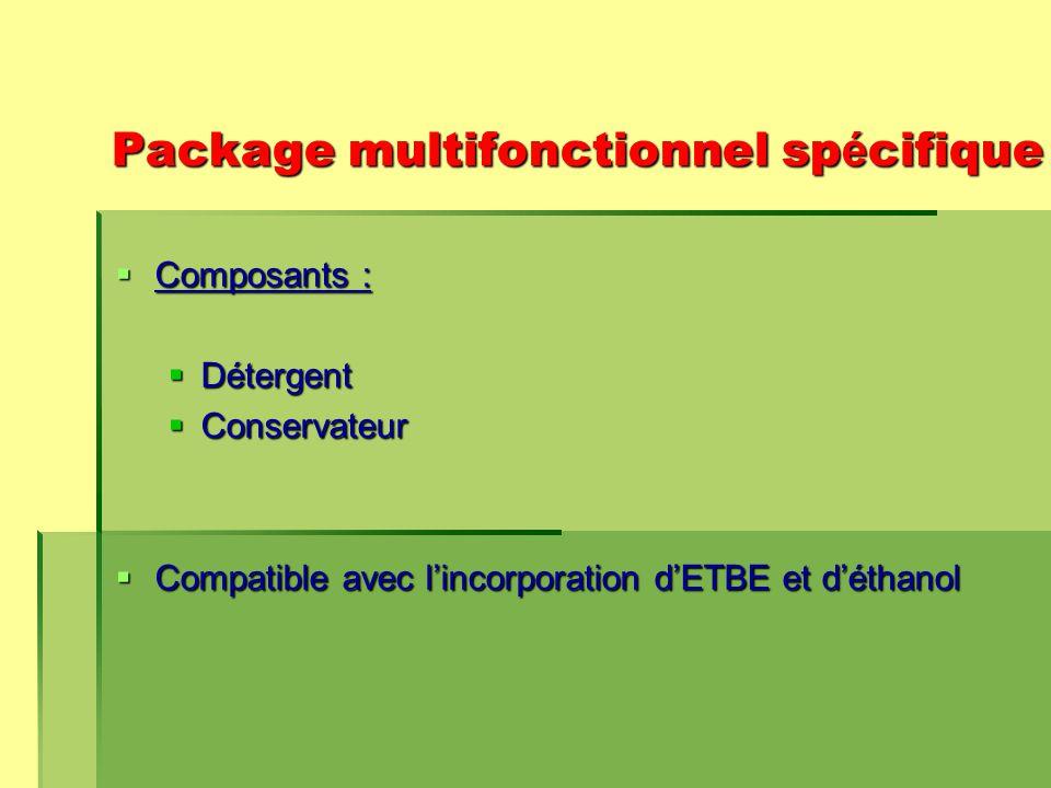 Package multifonctionnel sp é cifique  Composants :  Détergent  Conservateur  Compatible avec l'incorporation d'ETBE et d'éthanol