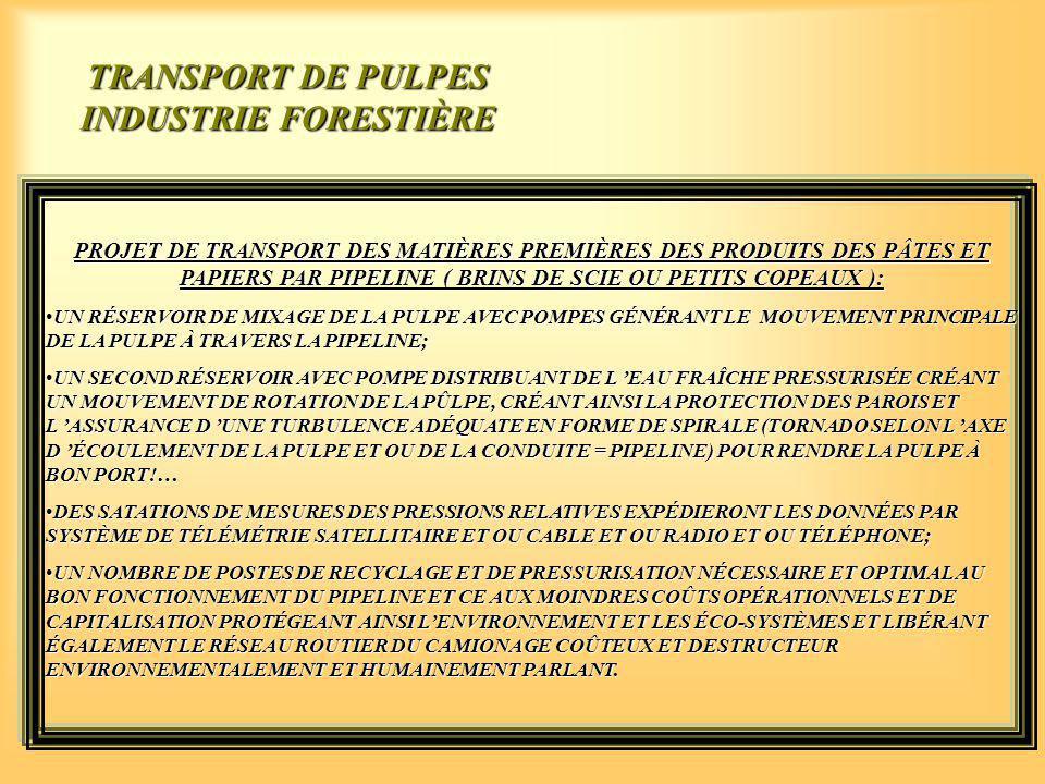 PROJET DE TRANSPORT DES MATIÈRES PREMIÈRES DES PRODUITS DES PÂTES ET PAPIERS PAR PIPELINE ( BRINS DE SCIE OU PETITS COPEAUX ): UN RÉSERVOIR DE MIXAGE DE LA PULPE AVEC POMPES GÉNÉRANT LE MOUVEMENT PRINCIPALE DE LA PULPE À TRAVERS LA PIPELINE;UN RÉSERVOIR DE MIXAGE DE LA PULPE AVEC POMPES GÉNÉRANT LE MOUVEMENT PRINCIPALE DE LA PULPE À TRAVERS LA PIPELINE; UN SECOND RÉSERVOIR AVEC POMPE DISTRIBUANT DE L 'EAU FRAÎCHE PRESSURISÉE CRÉANT UN MOUVEMENT DE ROTATION DE LA PÛLPE, CRÉANT AINSI LA PROTECTION DES PAROIS ET L 'ASSURANCE D 'UNE TURBULENCE ADÉQUATE EN FORME DE SPIRALE (TORNADO SELON L 'AXE D 'ÉCOULEMENT DE LA PULPE ET OU DE LA CONDUITE = PIPELINE) POUR RENDRE LA PULPE À BON PORT!…UN SECOND RÉSERVOIR AVEC POMPE DISTRIBUANT DE L 'EAU FRAÎCHE PRESSURISÉE CRÉANT UN MOUVEMENT DE ROTATION DE LA PÛLPE, CRÉANT AINSI LA PROTECTION DES PAROIS ET L 'ASSURANCE D 'UNE TURBULENCE ADÉQUATE EN FORME DE SPIRALE (TORNADO SELON L 'AXE D 'ÉCOULEMENT DE LA PULPE ET OU DE LA CONDUITE = PIPELINE) POUR RENDRE LA PULPE À BON PORT!… DES SATATIONS DE MESURES DES PRESSIONS RELATIVES EXPÉDIERONT LES DONNÉES PAR SYSTÈME DE TÉLÉMÉTRIE SATELLITAIRE ET OU CABLE ET OU RADIO ET OU TÉLÉPHONE;DES SATATIONS DE MESURES DES PRESSIONS RELATIVES EXPÉDIERONT LES DONNÉES PAR SYSTÈME DE TÉLÉMÉTRIE SATELLITAIRE ET OU CABLE ET OU RADIO ET OU TÉLÉPHONE; UN NOMBRE DE POSTES DE RECYCLAGE ET DE PRESSURISATION NÉCESSAIRE ET OPTIMAL AU BON FONCTIONNEMENT DU PIPELINE ET CE AUX MOINDRES COÛTS OPÉRATIONNELS ET DE CAPITALISATION PROTÉGEANT AINSI L'ENVIRONNEMENT ET LES ÉCO-SYSTÈMES ET LIBÉRANT ÉGALEMENT LE RÉSEAU ROUTIER DU CAMIONAGE COÛTEUX ET DESTRUCTEUR ENVIRONNEMENTALEMENT ET HUMAINEMENT PARLANT.UN NOMBRE DE POSTES DE RECYCLAGE ET DE PRESSURISATION NÉCESSAIRE ET OPTIMAL AU BON FONCTIONNEMENT DU PIPELINE ET CE AUX MOINDRES COÛTS OPÉRATIONNELS ET DE CAPITALISATION PROTÉGEANT AINSI L'ENVIRONNEMENT ET LES ÉCO-SYSTÈMES ET LIBÉRANT ÉGALEMENT LE RÉSEAU ROUTIER DU CAMIONAGE COÛTEUX ET DESTRUCTEUR ENVIRONNEMENTALEMENT ET HUMAIN