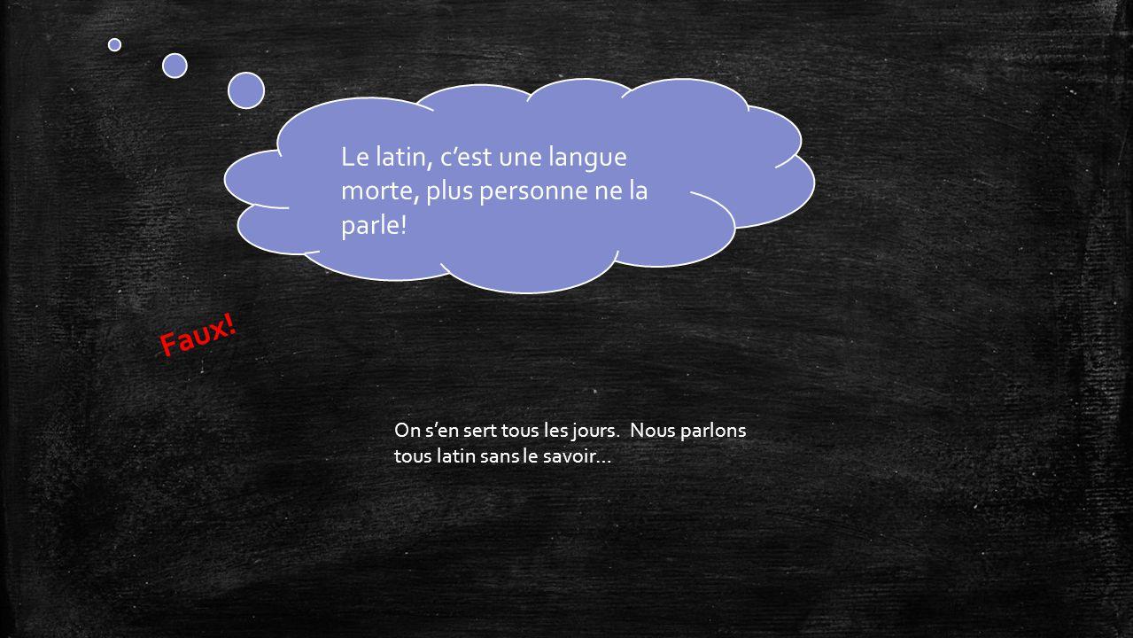 Le latin, c'est une langue morte, plus personne ne la parle.