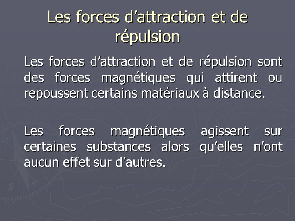 Les forces d'attraction et de répulsion Les forces d'attraction et de répulsion sont des forces magnétiques qui attirent ou repoussent certains matéri
