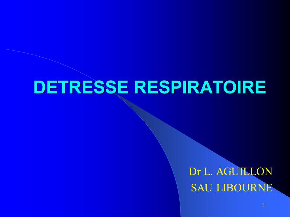 1 DETRESSE RESPIRATOIRE Dr L. AGUILLON SAU LIBOURNE