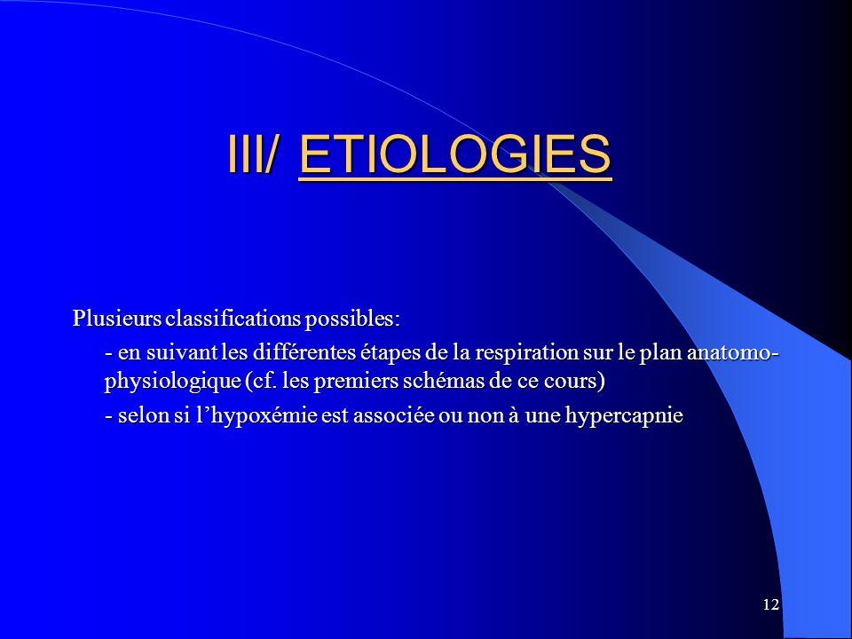 12 III/ ETIOLOGIES Plusieurs classifications possibles: - en suivant les différentes étapes de la respiration sur le plan anatomo- physiologique (cf.
