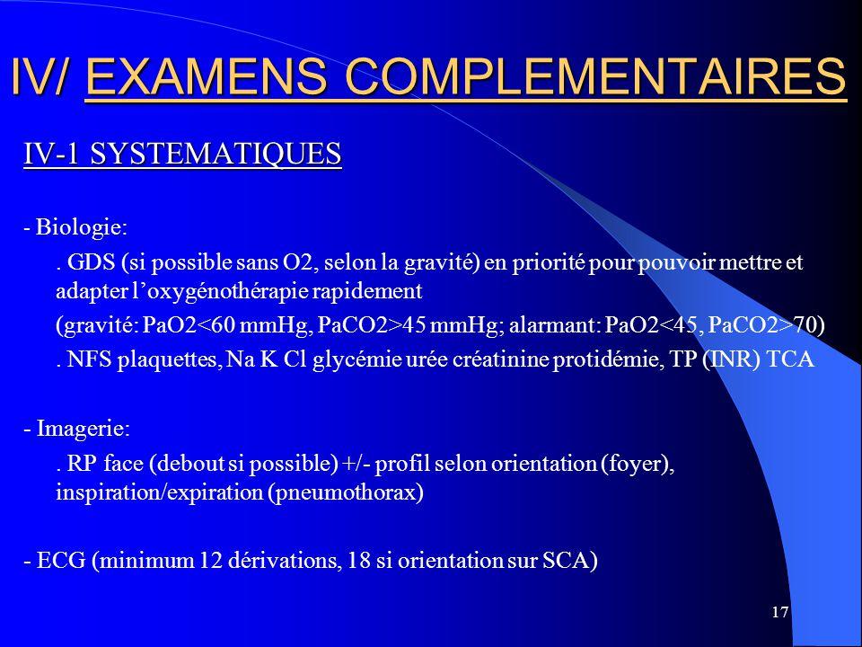 17 IV/ EXAMENS COMPLEMENTAIRES IV-1 SYSTEMATIQUES - Biologie:. GDS (si possible sans O2, selon la gravité) en priorité pour pouvoir mettre et adapter