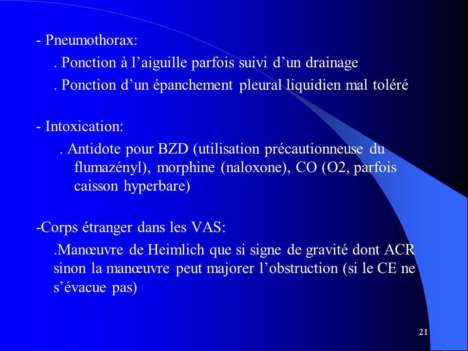 21 - Pneumothorax:. Ponction à l'aiguille parfois suivi d'un drainage. Ponction d'un épanchement pleural liquidien mal toléré - Intoxication:. Antidot