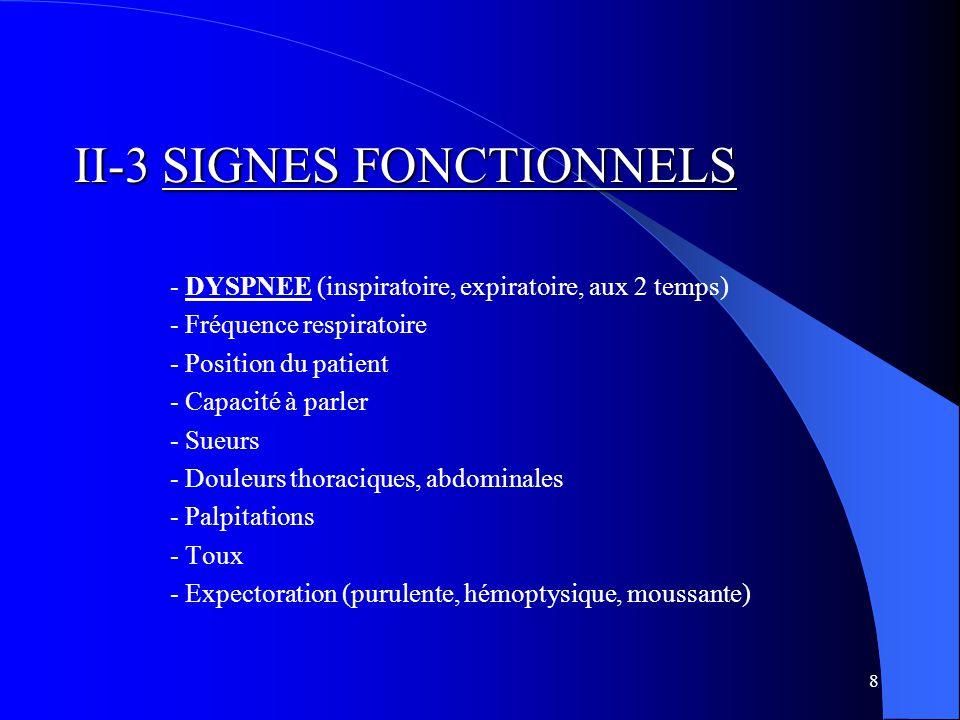 8 II-3 SIGNES FONCTIONNELS - DYSPNEE (inspiratoire, expiratoire, aux 2 temps) - Fréquence respiratoire - Position du patient - Capacité à parler - Sueurs - Douleurs thoraciques, abdominales - Palpitations - Toux - Expectoration (purulente, hémoptysique, moussante)