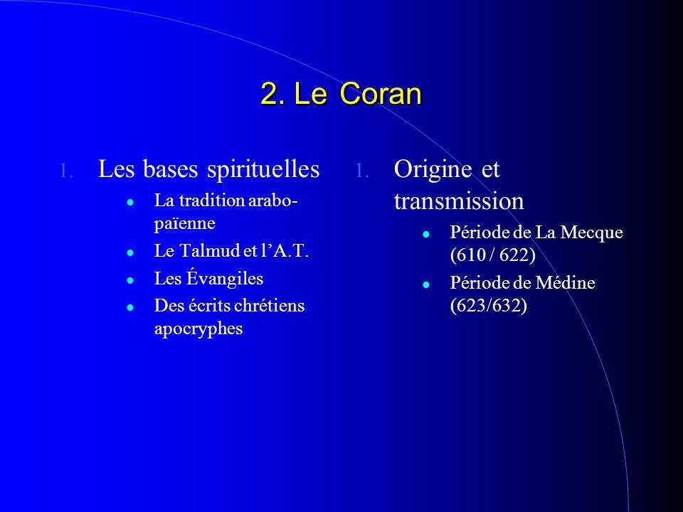 2. Le Coran 1. Les bases spirituelles La tradition arabo- païenne Le Talmud et l'A.T. Les Évangiles Des écrits chrétiens apocryphes 1. Origine et tran