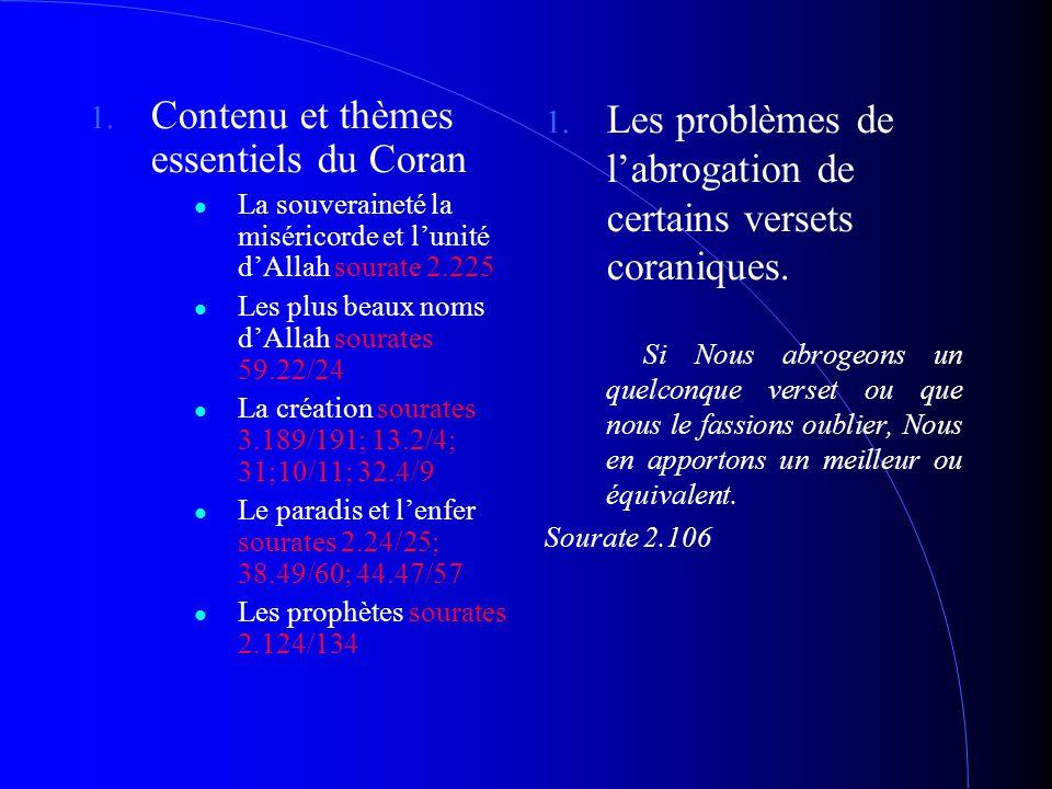 1. Contenu et thèmes essentiels du Coran La souveraineté la miséricorde et l'unité d'Allah sourate 2.225 Les plus beaux noms d'Allah sourates 59.22/24