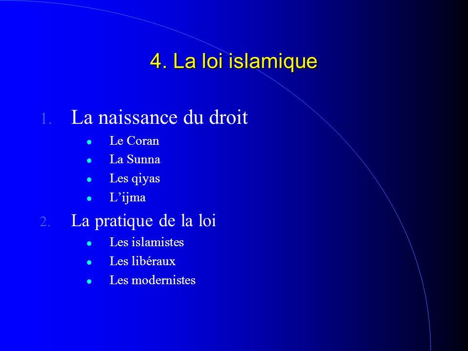 4. La loi islamique 1. La naissance du droit Le Coran La Sunna Les qiyas L'ijma 2. La pratique de la loi Les islamistes Les libéraux Les modernistes