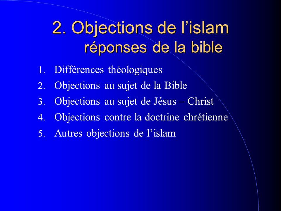 2. Objections de l'islam réponses de la bible 1. Différences théologiques 2. Objections au sujet de la Bible 3. Objections au sujet de Jésus – Christ