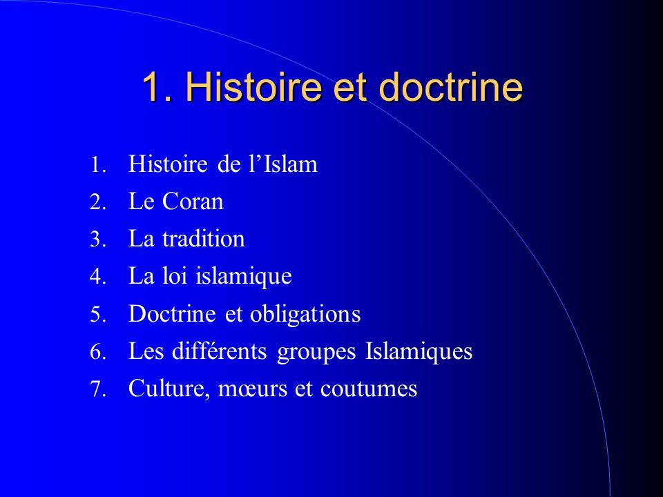 1. Histoire et doctrine 1. Histoire de l'Islam 2. Le Coran 3. La tradition 4. La loi islamique 5. Doctrine et obligations 6. Les différents groupes Is