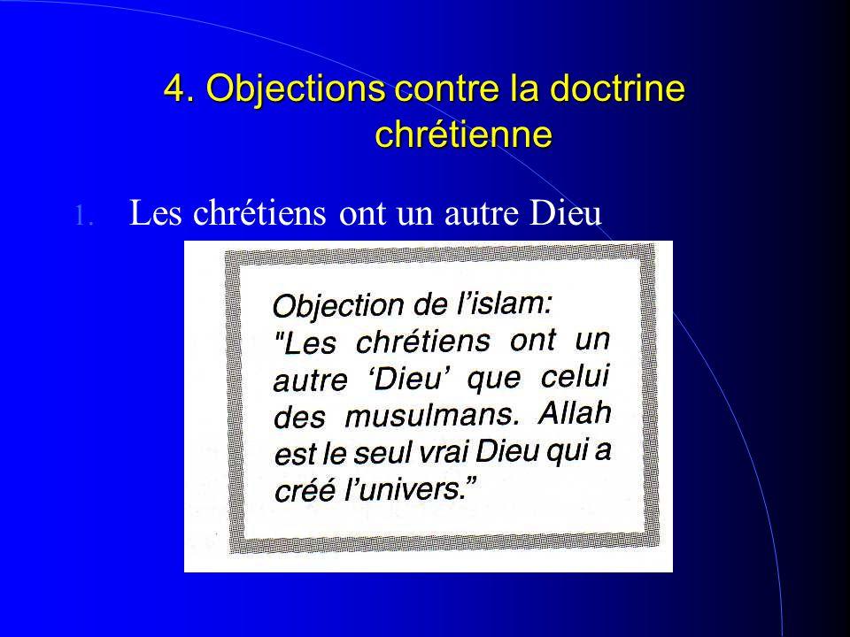 4. Objections contre la doctrine chrétienne 1. Les chrétiens ont un autre Dieu