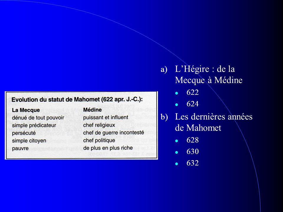 a) L'Hégire : de la Mecque à Médine 622 624 b) Les dernières années de Mahomet 628 630 632