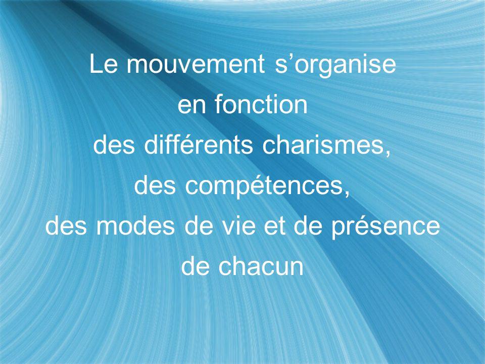 Le mouvement s'organise en fonction des différents charismes, des compétences, des modes de vie et de présence de chacun Le mouvement s'organise en fo