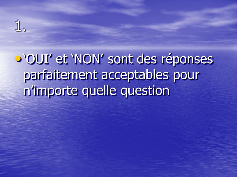 1.1. 'OUI' et 'NON' sont des réponses parfaitement acceptables pour n'importe quelle question 'OUI' et 'NON' sont des réponses parfaitement acceptable