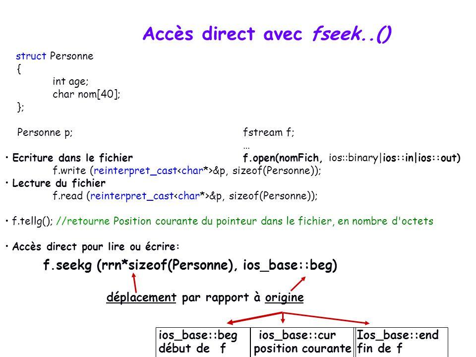 Accès direct avec fseek..() f.seekg (rrn*sizeof(Personne), ios_base::beg) déplacement par rapport à origine ios_base::beg début de f ios_base::cur pos