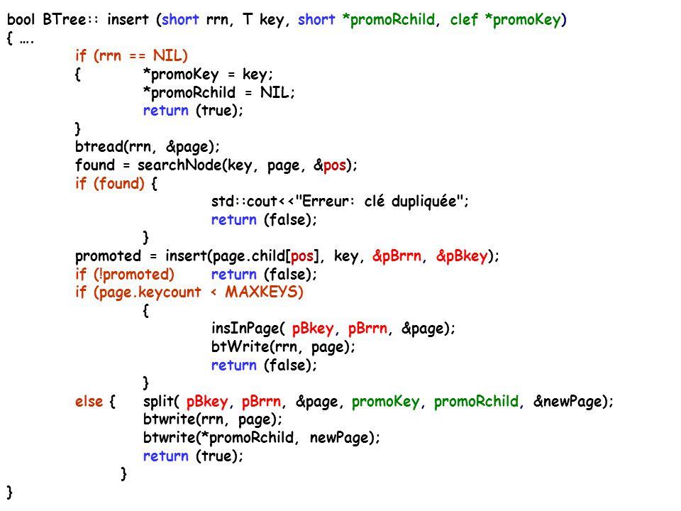 bool BTree:: insert (short rrn, T key, short *promoRchild, clef *promoKey) { …. if (rrn == NIL) {*promoKey = key; *promoRchild = NIL; return (true); }