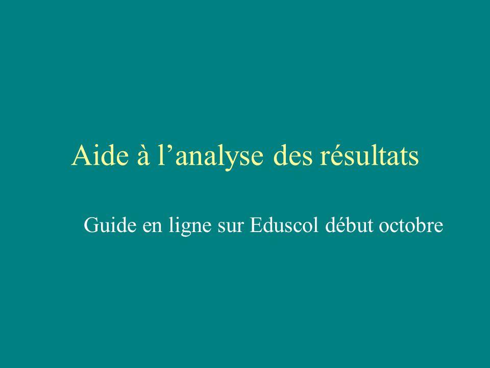 Aide à l'analyse des résultats Guide en ligne sur Eduscol début octobre