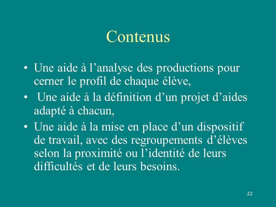 22 Contenus Une aide à l'analyse des productions pour cerner le profil de chaque élève, Une aide à la définition d'un projet d'aides adapté à chacun,
