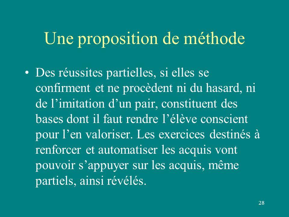 28 Une proposition de méthode Des réussites partielles, si elles se confirment et ne procèdent ni du hasard, ni de l'imitation d'un pair, constituent