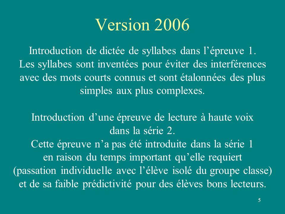5 Introduction de dictée de syllabes dans l'épreuve 1. Les syllabes sont inventées pour éviter des interférences avec des mots courts connus et sont é