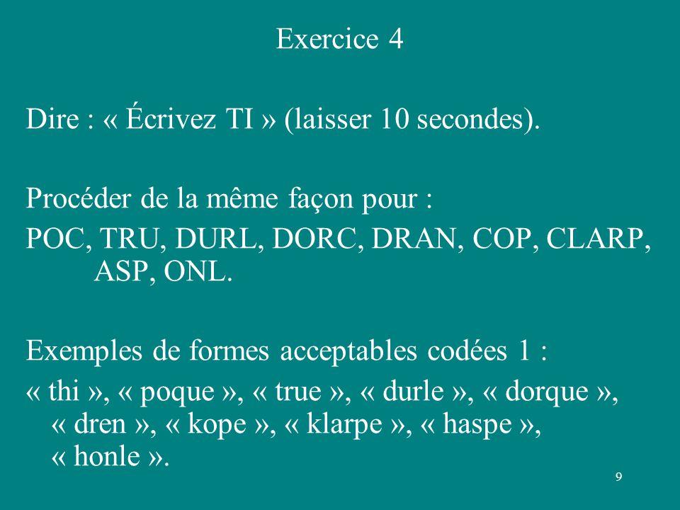 9 Exercice 4 Dire : « Écrivez TI » (laisser 10 secondes). Procéder de la même façon pour : POC, TRU, DURL, DORC, DRAN, COP, CLARP, ASP, ONL. Exemples