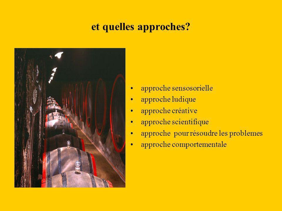 et quelles approches? approche sensosorielle approche ludique approche créative approche scientifique approche pour résoudre les problemes approche co