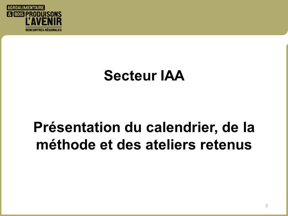 2 Secteur IAA Présentation du calendrier, de la méthode et des ateliers retenus