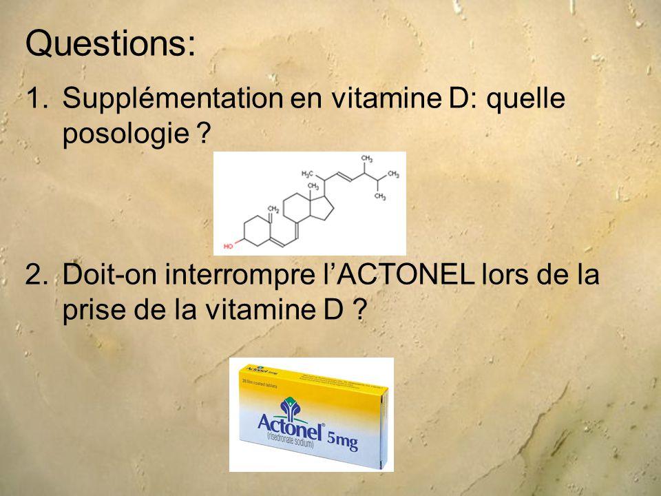 Questions: 1.Supplémentation en vitamine D: quelle posologie .
