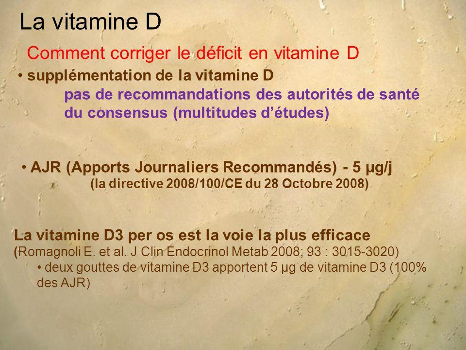 La vitamine D supplémentation de la vitamine D pas de recommandations des autorités de santé du consensus (multitudes d'études) Comment corriger le déficit en vitamine D AJR (Apports Journaliers Recommandés) - 5 μg/j (la directive 2008/100/CE du 28 Octobre 2008) La vitamine D3 per os est la voie la plus efficace (Romagnoli E.